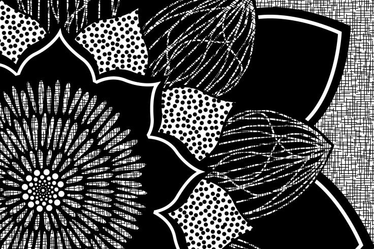 B&W Doodle Flower-01